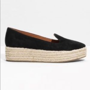 & Other Stories black suede espadrilles. Size 8